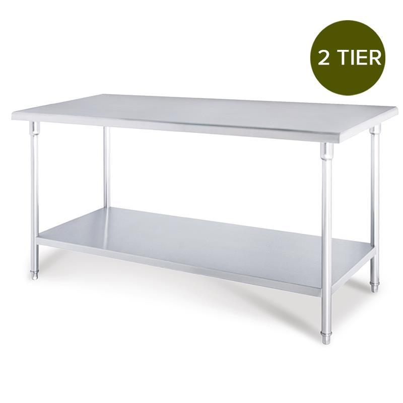 SOGA 2-Tier Commercial Kitchen S/S Prep Work Bench Table 120*70*85cm