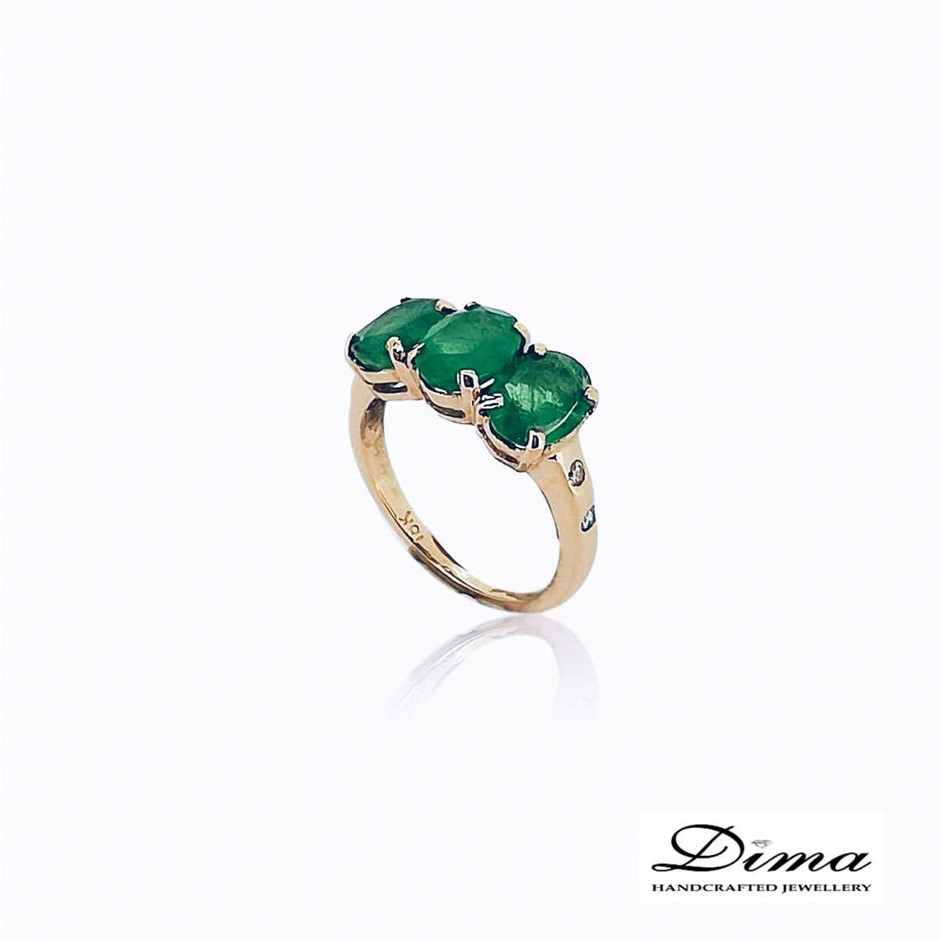 18ct Yellow Gold, 3.88ct Emerald and Diamond Ring