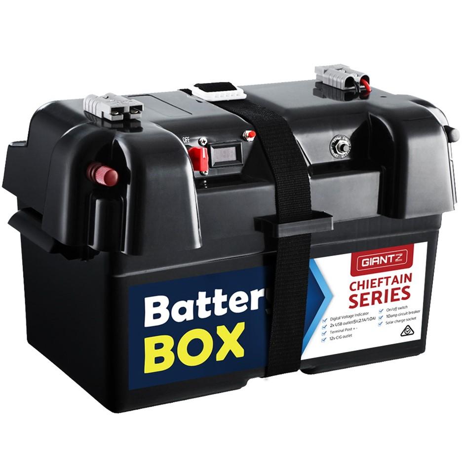 GIANTZ Battery Box 12V Camping Portable Deep Cycle AGM Universal USB Cig