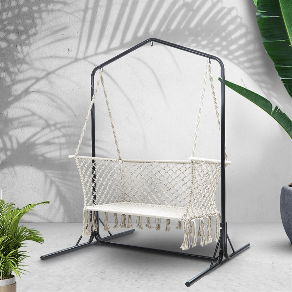 Gardeon Double Swing Hammock Chair with Stand Macrame