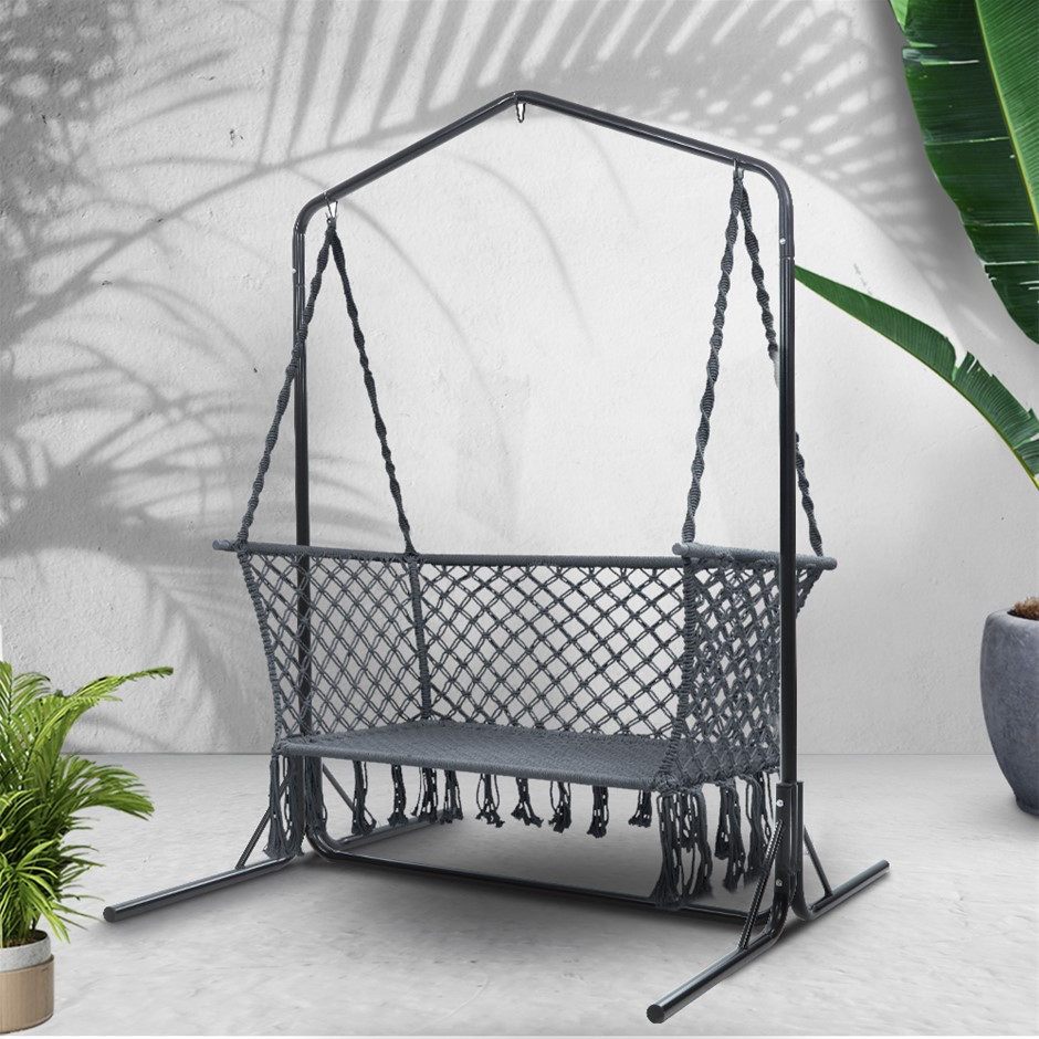 Gardeon Outdoor Swing Hammock Chair with Stand Frame 2 Seater Bench