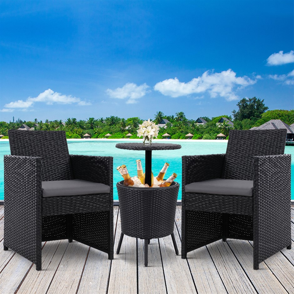 Gardeon Outdoor Furniture Wicker Chairs Bar Table Cooler Ice Bistro Set