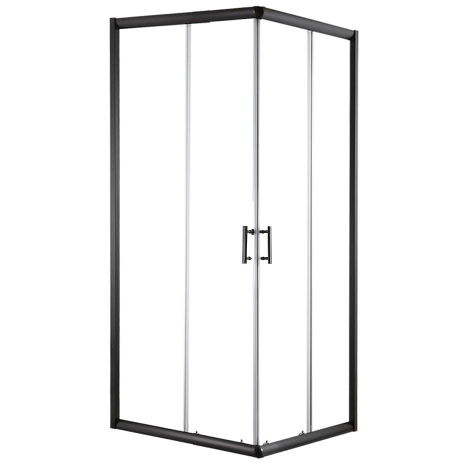 Cefito Shower Screen Square Bathroom Glass Sliding Door Black 900x900mm