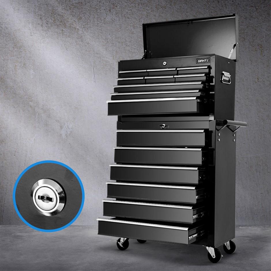 Giantz 15 Drawers Tool Box Chest Trolley Cabinet Organizer Black