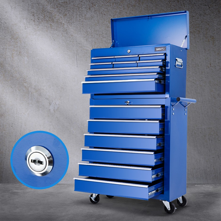 Giantz 15 Drawers Tool Box Chest Trolley Cabinet Organizer Blue