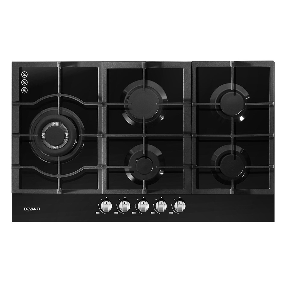Devanti Gas Cooktop 90cm 5 Burner Stove Hob Cooker Kitchen