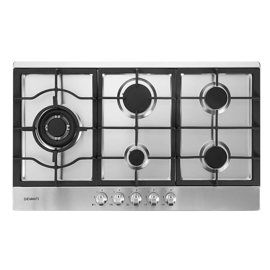 Devanti Gas Cooktop 90cm Kitchen Stove Cooker 5 Burner Stainless Steel