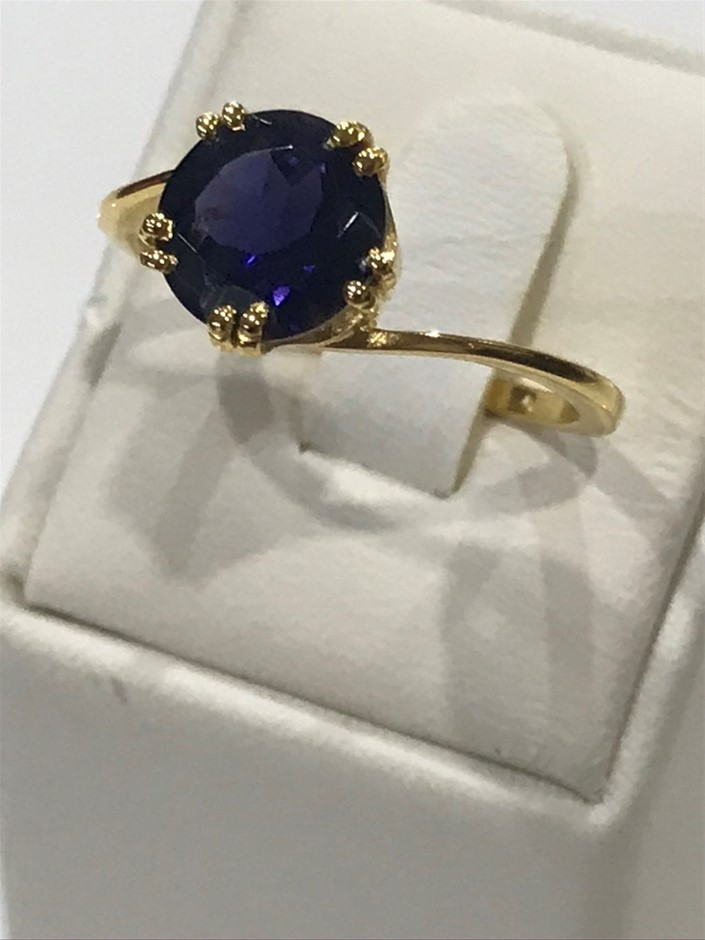 Eye Catching 2.00ct Iolite & 18K Y/Gold Vermeil Ring Size P 1/2 (8)