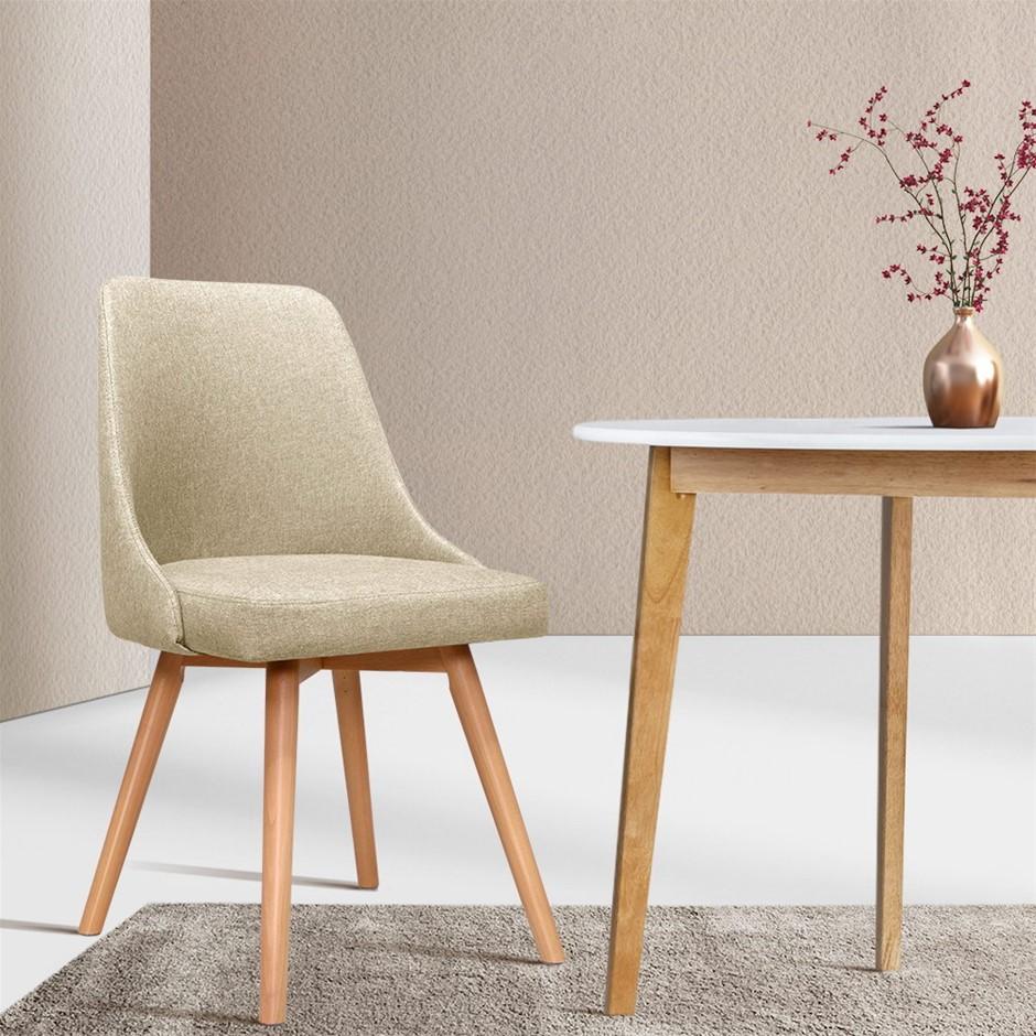Artiss 2x Replica Dining Chairs Beech Wooden Timber Kitchen Fabric Beige
