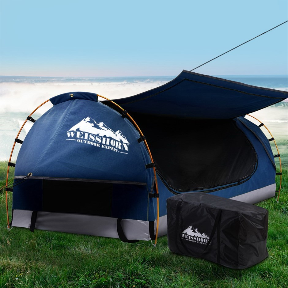 Weisshorn Swag King Single Camping Canvas Dome Tent Dark Blue w/ Mattress