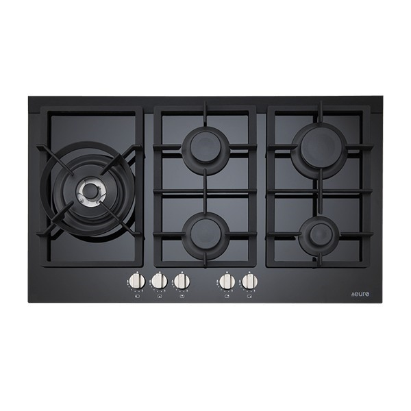 Euro 90cm Gas on Ceramic Cooktop, Model: ES90WGFDBL