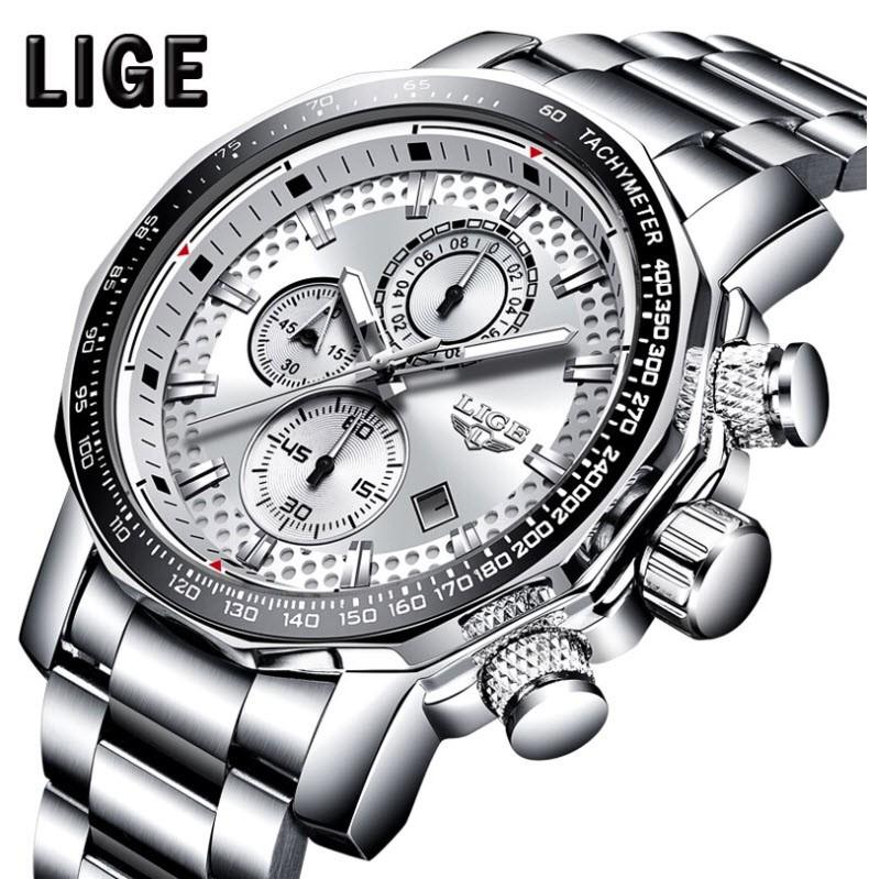 LIGE Men Business & Luxury Quartz Chronograph SS Watch Lige 9902 White