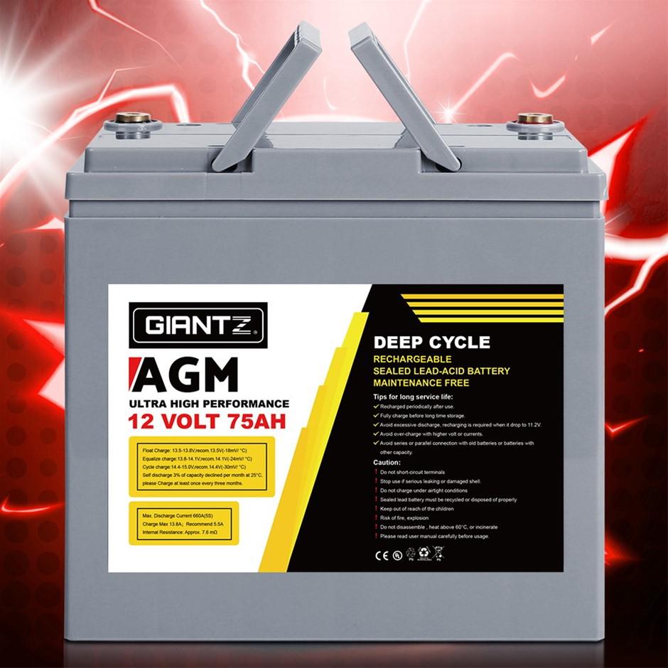 Giantz 75Ah Deep Cycle Battery 12V AGM Marine Sealed Power Solar Caravan