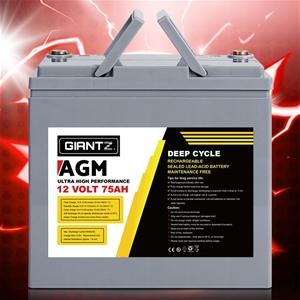 Giantz 75Ah Deep Cycle Battery 12V AGM M