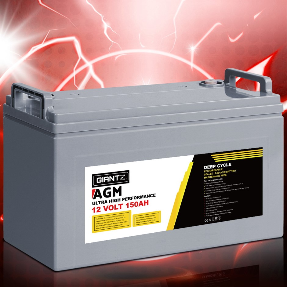 Giantz 150Ah Deep Cycle Battery 12V AGM Power Portable Box Solar Caravan