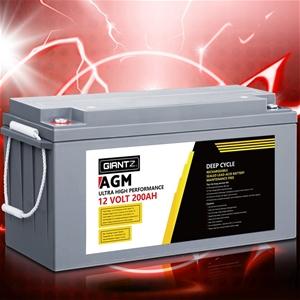 Giantz 200Ah Deep Cycle Battery 12V AGM