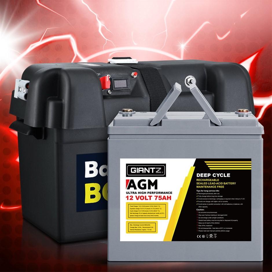 Giantz 75Ah Deep Cycle Battery & Battery Box 12V AGM Power Solar Caravan