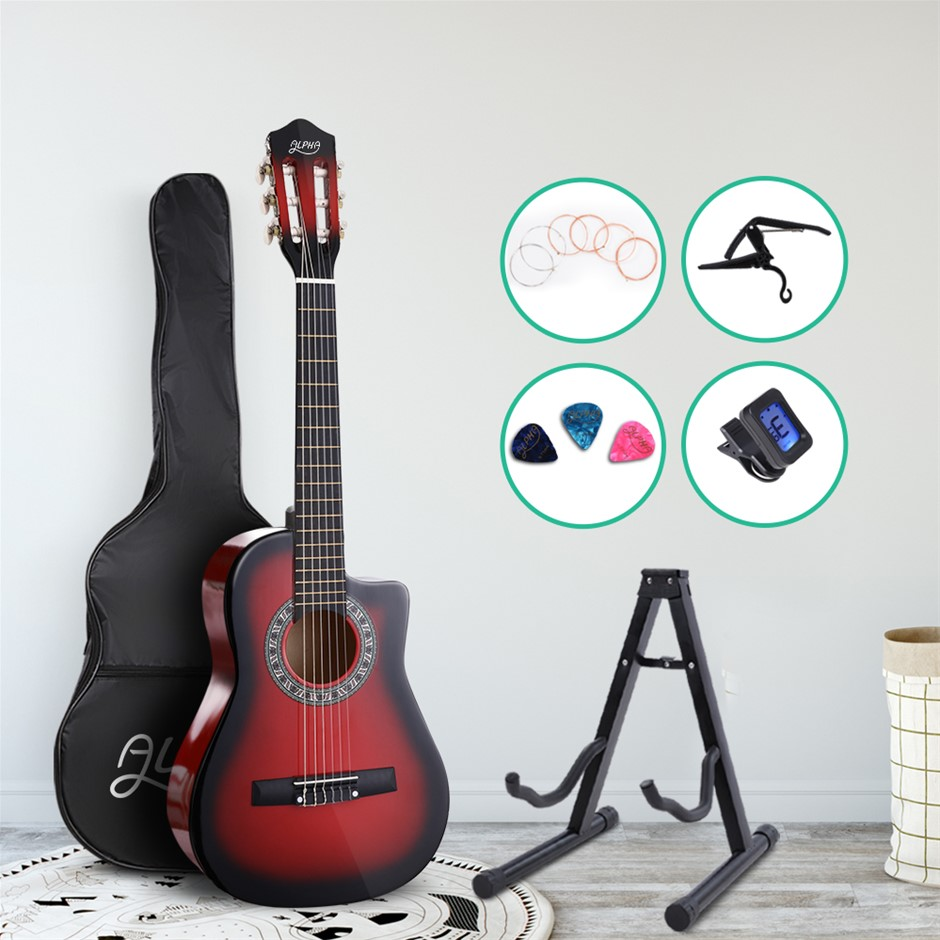 """Alpha 34"""" Inch Guitar Cutaway Wooden 1/2 Size Red w/ Capo Tuner"""