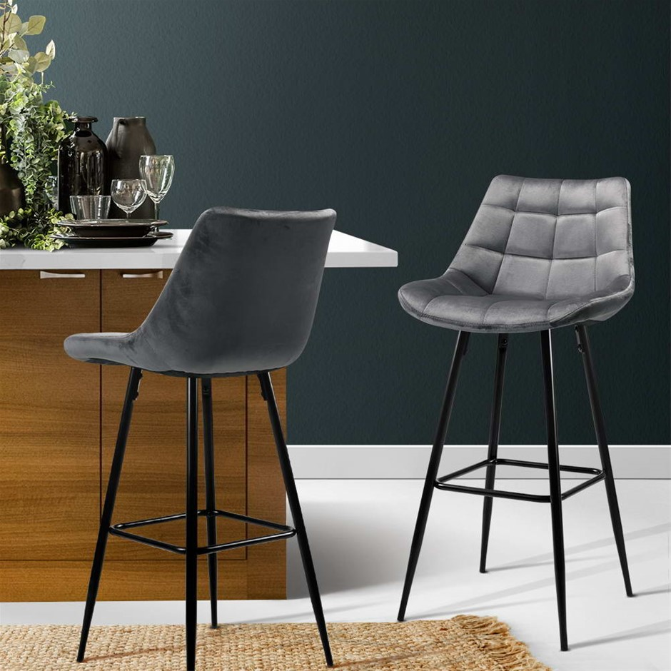 Artiss Kitchen Bar Stools Velvet Counter Chairs Metal Barstools Grey