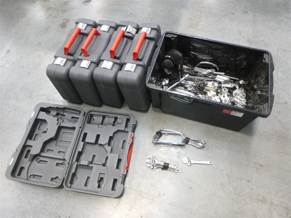 Crate of Assorted Tools and Power Tools Cases
