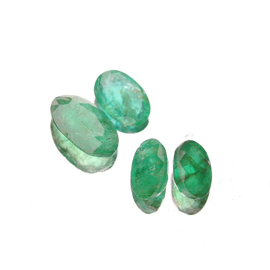 Four Loose Emerald, 3.74ct in Total