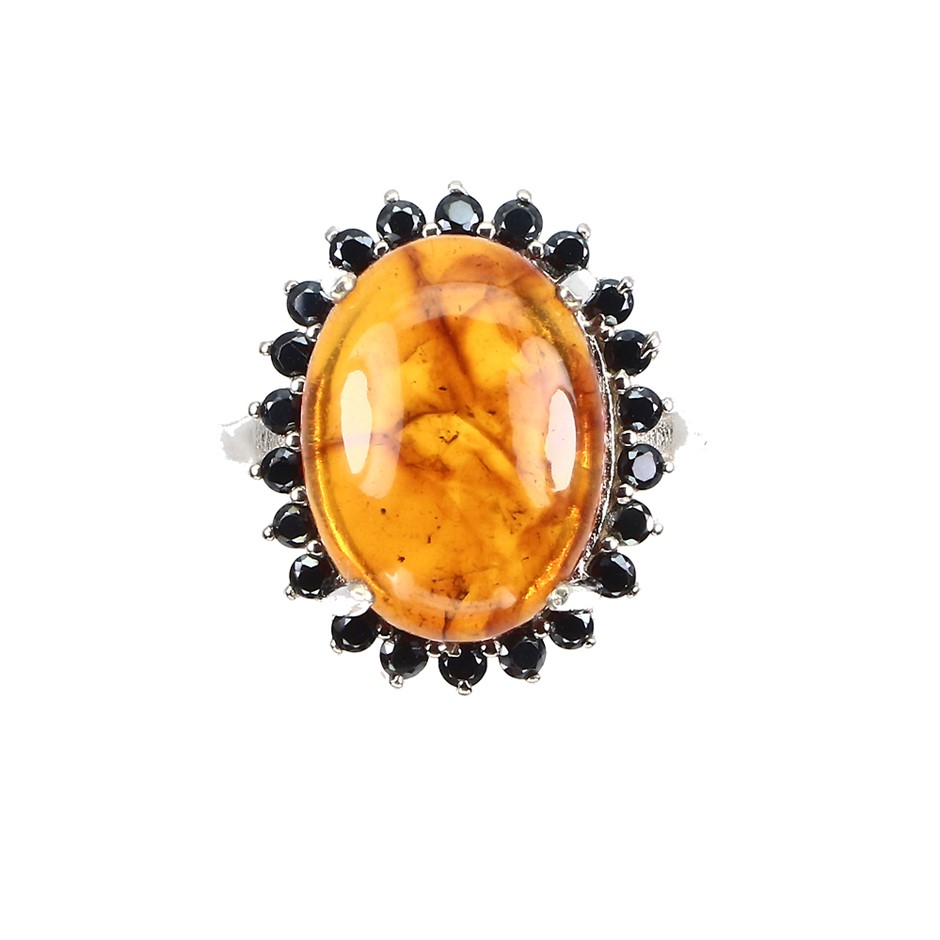 Genuine Polish Amber & Spinel Ring