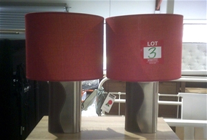 2 units of Red Mayfield Lamps. 550mm hig