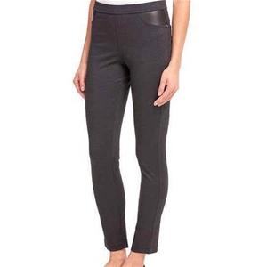 DKNY Women`s Ponte Pants w/ Faux Leather