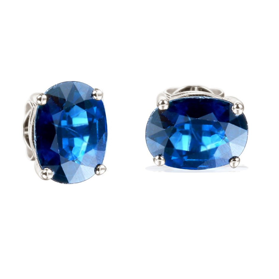 9ct White Gold, 3.11ct Blue Sapphire Earring