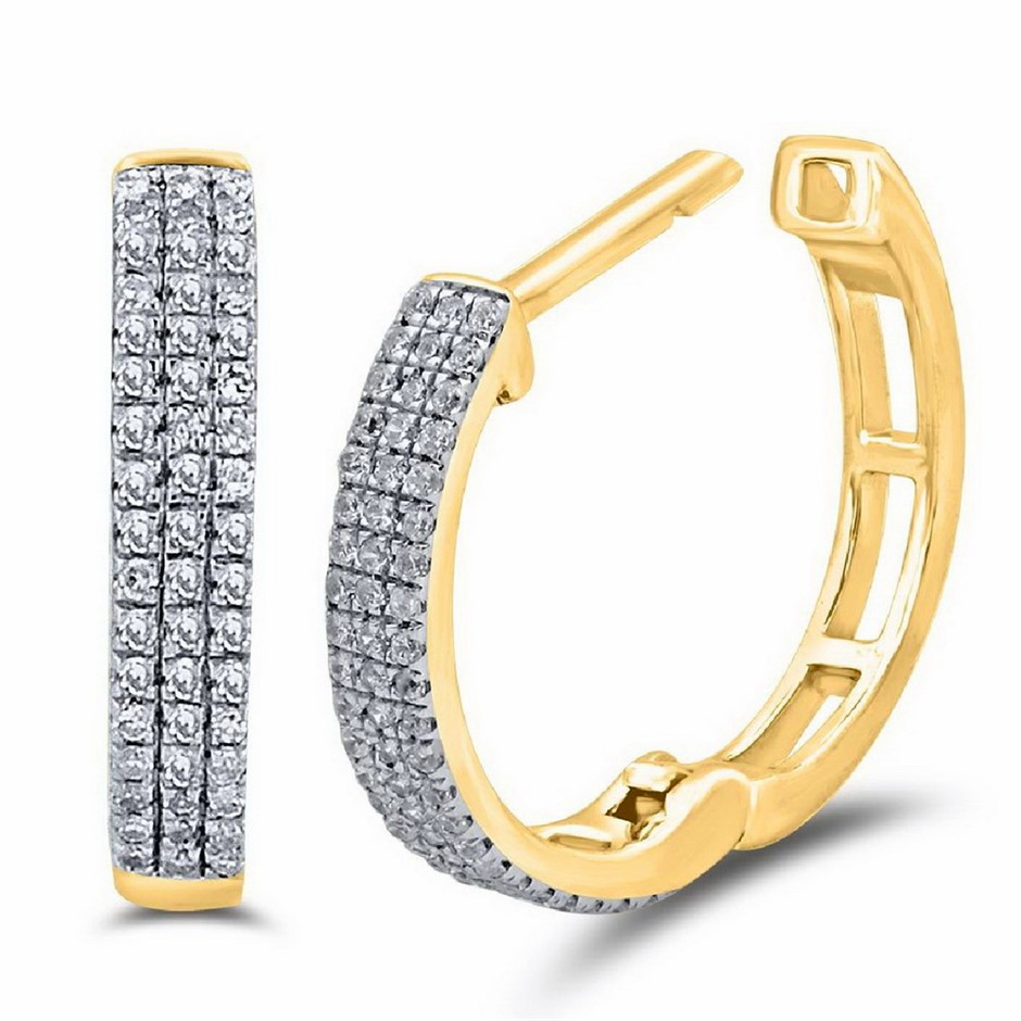 9ct Yellow Gold, 0.14ct Diamond Earring
