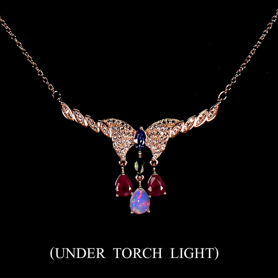 Delightful Genuine Tanzanite & Ruby Butterfly Necklace
