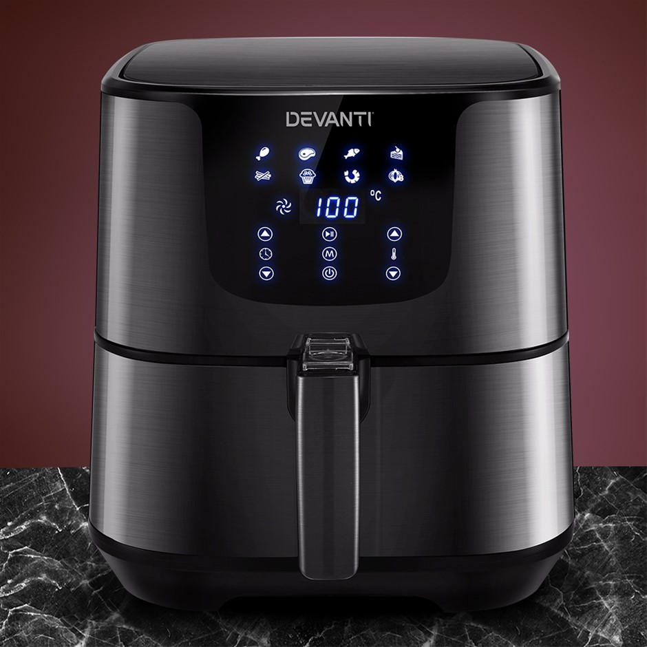 Devanti Air Fryer 7L LCD Oven Airfryer Kitchen Cooker Stainless Steel