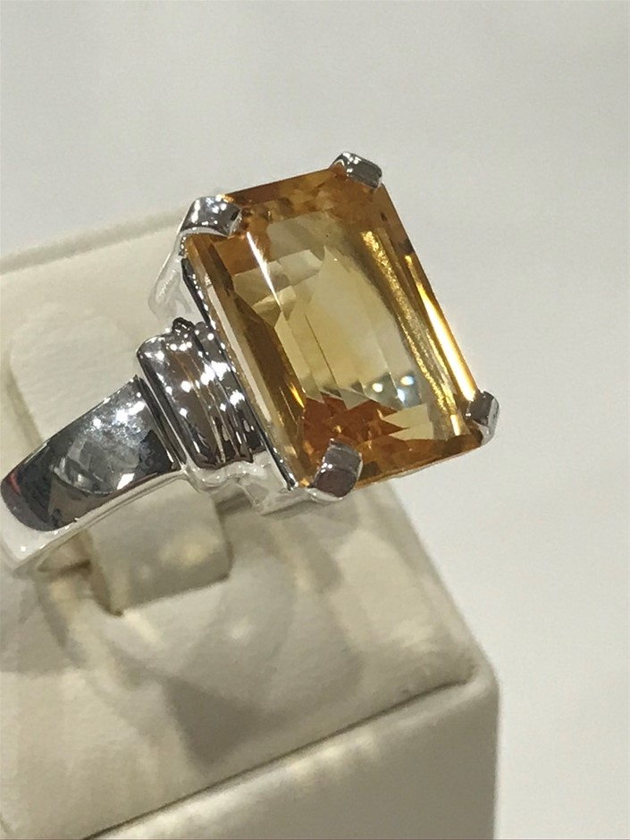 Magnificent 9.50ct Genuine Golden Citrine Ring Size P 1/2 (8)