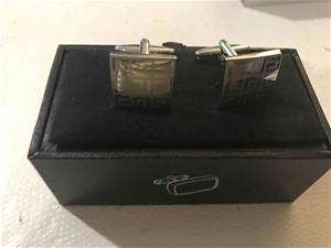 Pair of Greek Key Cufflinks Brass with S