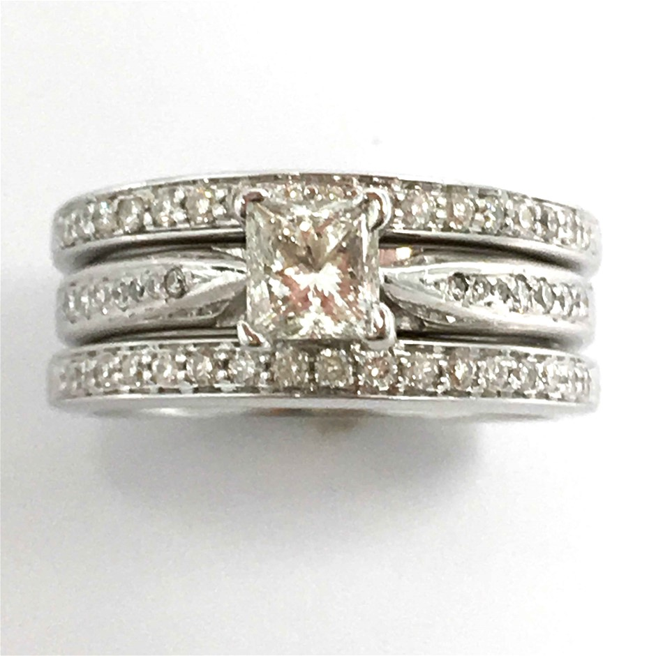 18ct White Gold,0.72ct Diamond Engagement Ring Set
