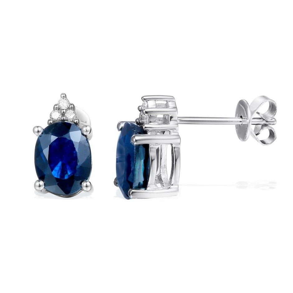 9ct White Gold, 3.27ct Blue Sapphire and Diamond Earring