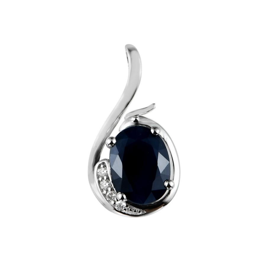 9ct White Gold, 1.48ct Blue Sapphire Pendant