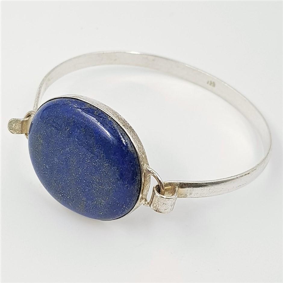 Sterling Silver Blue Gemstone Cuff