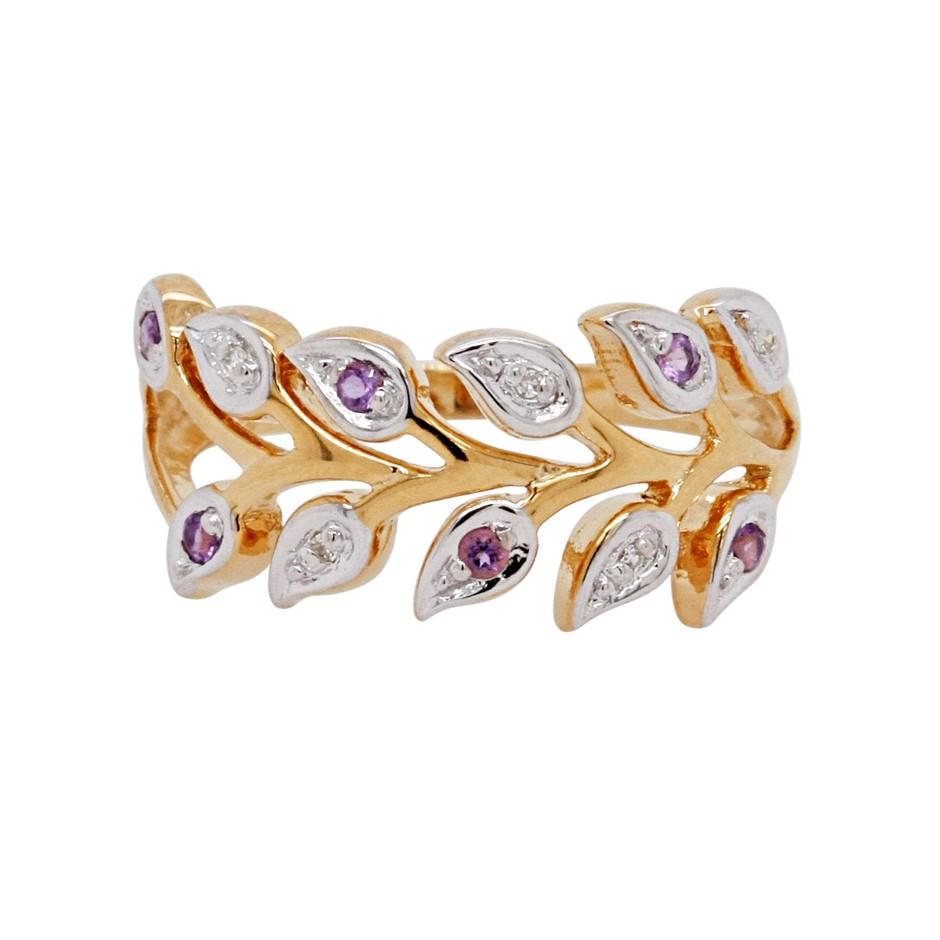 Ladies Leaf Design Amethyst & Diamond Gold Vermeil Dress Ring