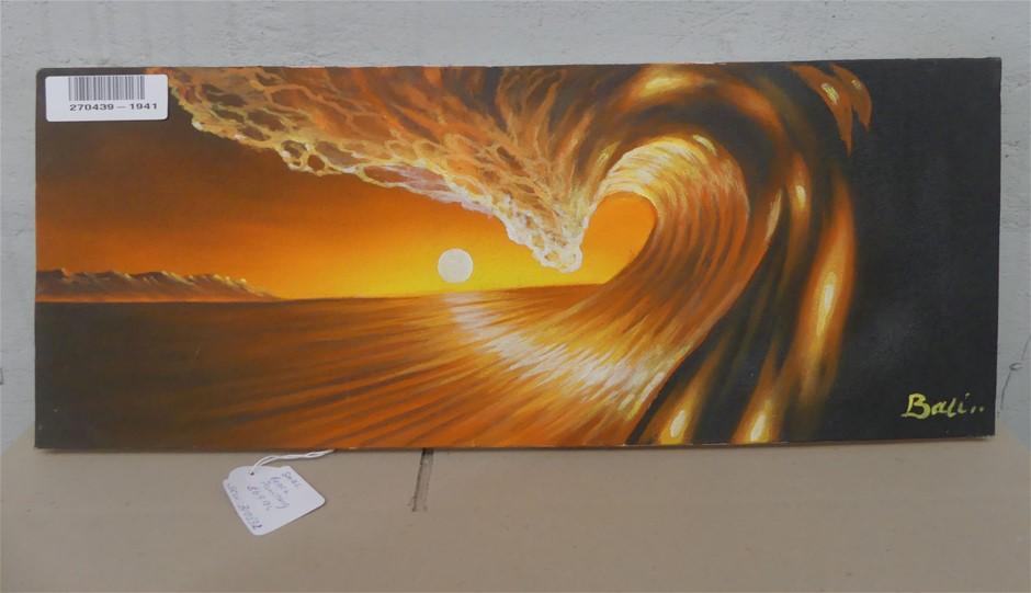 Bali Bali Small Beach Painting On Canvas, 50 X 20Cm (B10532)
