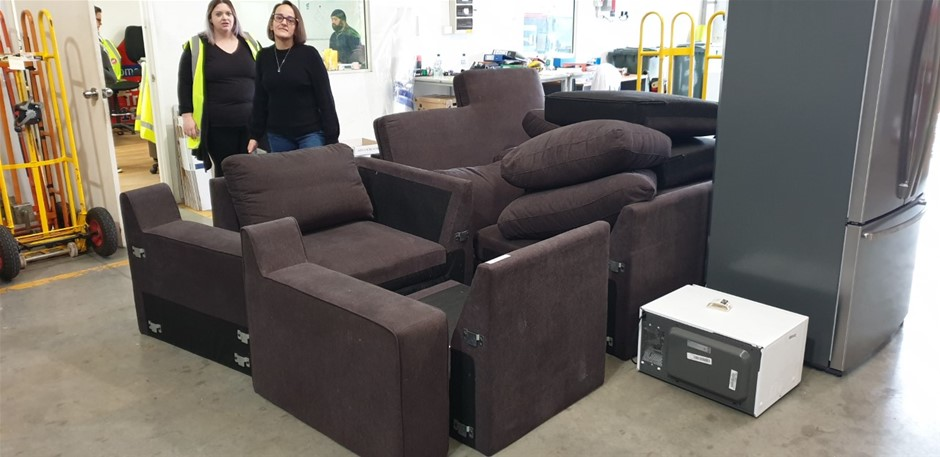 Porter 6-Seater Modular Lounge with Sofa Bed Onyx