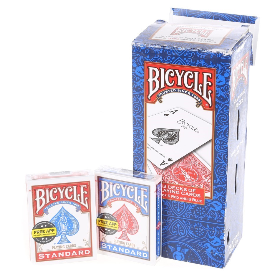 12 Packs x BICYCLE Playing Cards, Mix of Red & Blue. Buyers Note - Discount