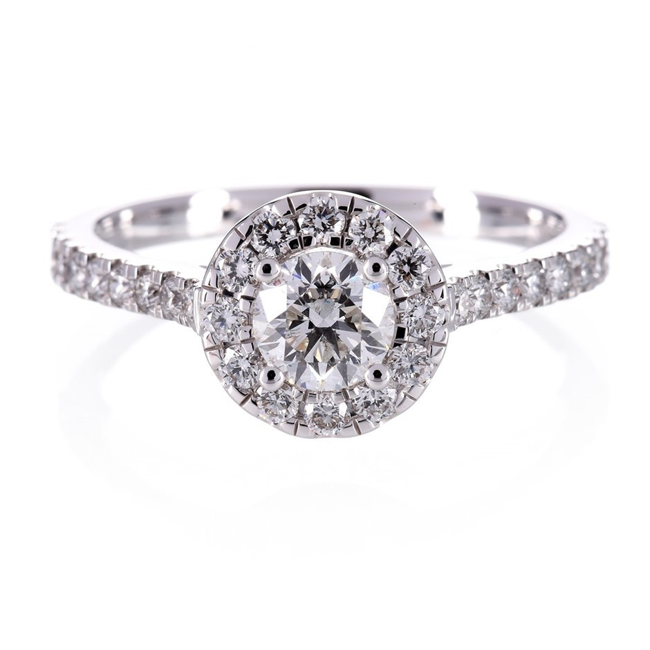 ERV $6270 - Diamond Engagement Ring 18ct WHG Round Brilliant 0.95ct TDW
