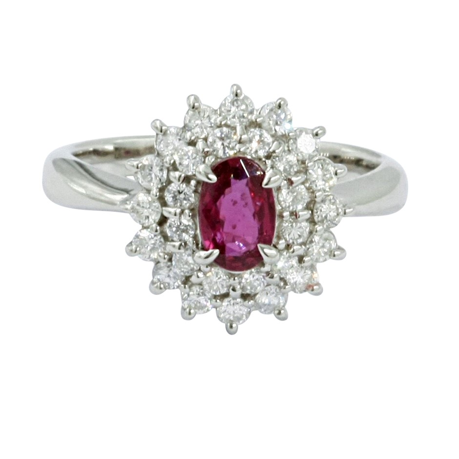 ERV $4636 - Platinum Ruby and Diamond Cluster ring