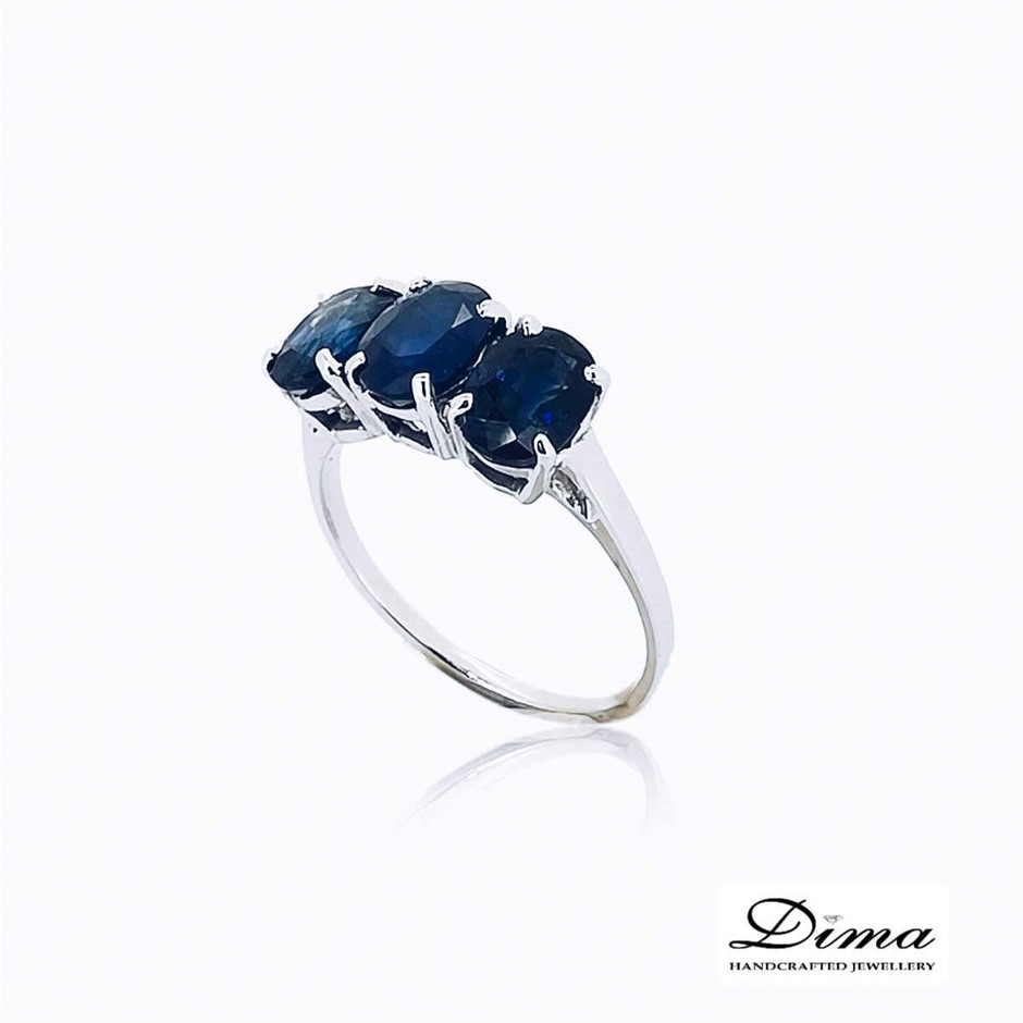 18ct White Gold, 3.47ct Blue Sapphire Ring