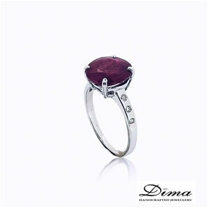 18ct White Gold, 3.64ct Ruby and Diamond