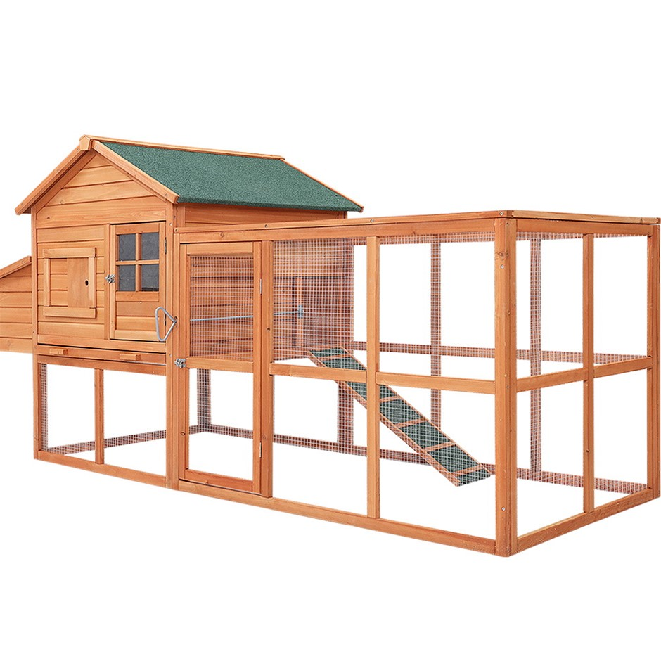 i.Pet Chicken Coop Coops Wooden Rabbit Hutch Hen Chook House Ferret Run XL