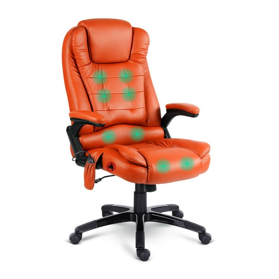 Artiss Massage Office Chair Heated Gaming Chair Computer 8 Point Amber