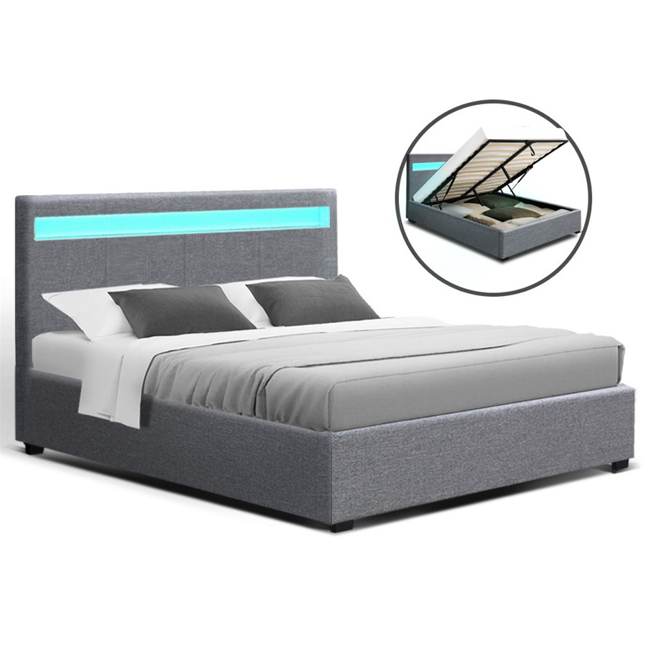 Artiss LED Bed Frame Queen Size Gas Lift Base With Storage Grey Fabric COLE