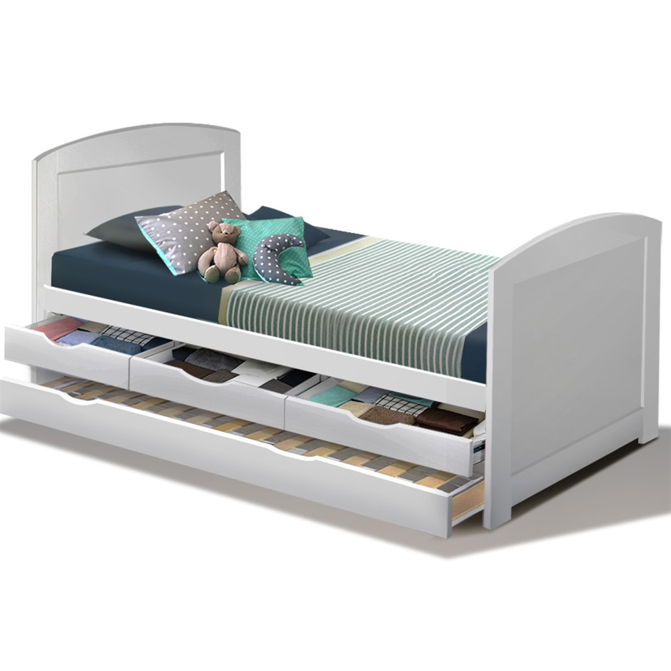 Artiss Single Wooden Timber Trundle Bed Frame DUNCAN Mattress Base Kids
